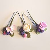Свадебный салон ручной работы. Ярмарка Мастеров - ручная работа Свадебные шпильки из полимерной глины цветы и ягоды. Handmade.
