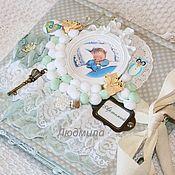 Канцелярские товары ручной работы. Ярмарка Мастеров - ручная работа нежный альбом для мальчика на 1 годик-Ангел. Handmade.