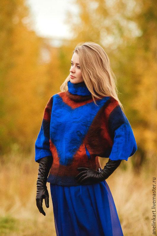 """Пончо ручной работы. Ярмарка Мастеров - ручная работа. Купить Куртка  валяная """"Геометрия"""". Handmade. Разноцветный, куртка женская"""