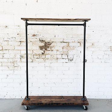Для дома и интерьера ручной работы. Ярмарка Мастеров - ручная работа Классический Рейл на колесах в стиле LOFT с полками и штангой. Handmade.