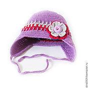 Работы для детей, ручной работы. Ярмарка Мастеров - ручная работа шапка детская для девочки вязаная шапка теплая шерстяная сиреневый. Handmade.