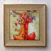 Картины и панно handmade. Livemaster - original item The picture of the cat and the cat under the tree, Pictures of cats cats. Handmade.