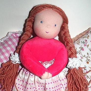 Куклы и игрушки ручной работы. Ярмарка Мастеров - ручная работа Куколка в пришивном комбинезоне лососевая 32 см. Handmade.
