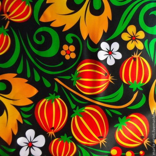 хохлома, сарафан, русский сарафан, хохломская роспись, ткань на сарафан, кокошник, танцевальный костюм