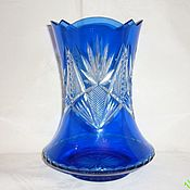Винтаж handmade. Livemaster - original item vase. Color BLUE, COBALT glass, HAND-CARVED. Handmade.