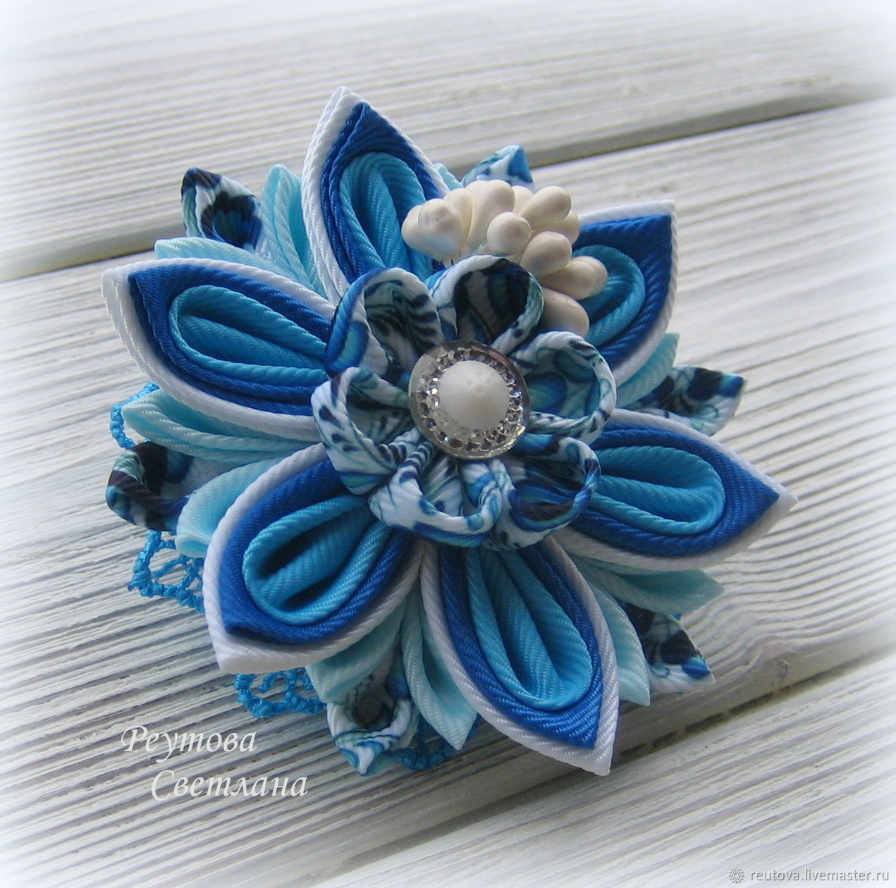 Hair bands forget-me-not in the technique of kanzashi, , Chernogolovka,  Фото №1