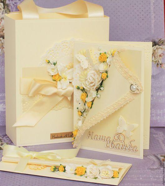 Подарки на свадьбу ручной работы. Ярмарка Мастеров - ручная работа. Купить Комплект на свадьбу (свадебная открытка, пакет, конверт для денег). Handmade.