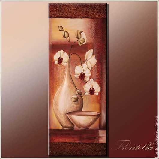 """Натюрморт ручной работы. Ярмарка Мастеров - ручная работа. Купить Настенное панно """"Орхидеи в кувшине"""". Handmade. Коричневый, кувшин белый"""