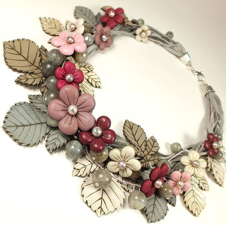 Hazy Pink Etude. Necklace made of genuine leather, pearls and Labrador, Necklace, St. Petersburg,  Фото №1