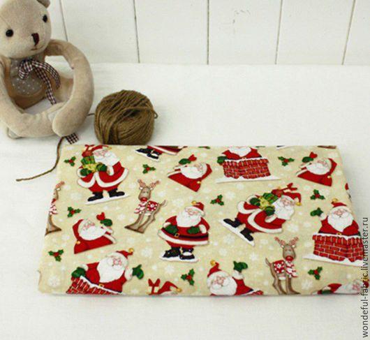 """Шитье ручной работы. Ярмарка Мастеров - ручная работа. Купить Новогодняя хлопковая ткань """"Санта Клаус"""". Handmade. Комбинированный, хлопок"""