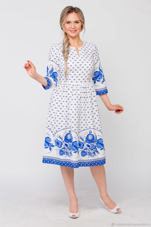 Dress linen Fabulous Gzhel, Dresses, Omsk,  Фото №1