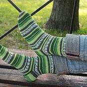 Аксессуары ручной работы. Ярмарка Мастеров - ручная работа носки жизнерадостные зеленые. Handmade.