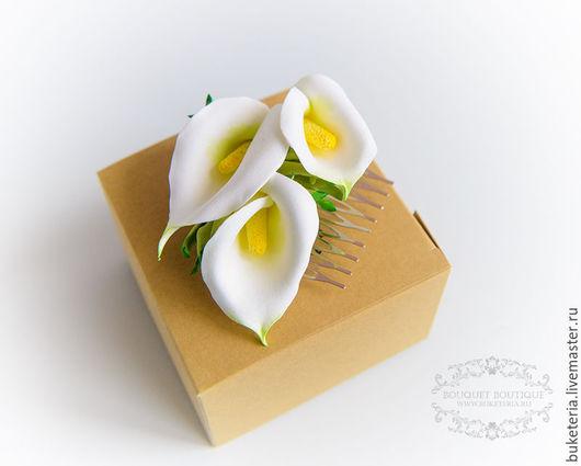 Свадебные украшения ручной работы. Ярмарка Мастеров - ручная работа. Купить Каллы для прически. Handmade. Цветы из полимерной глины