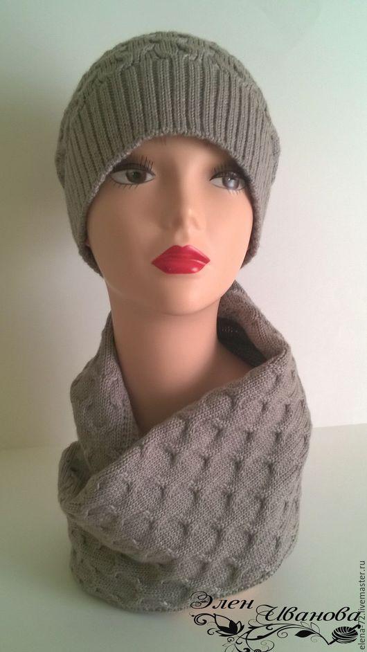 Шапки ручной работы. Ярмарка Мастеров - ручная работа. Купить зимний комплект шапка и шарф-снуд. Handmade. Серый