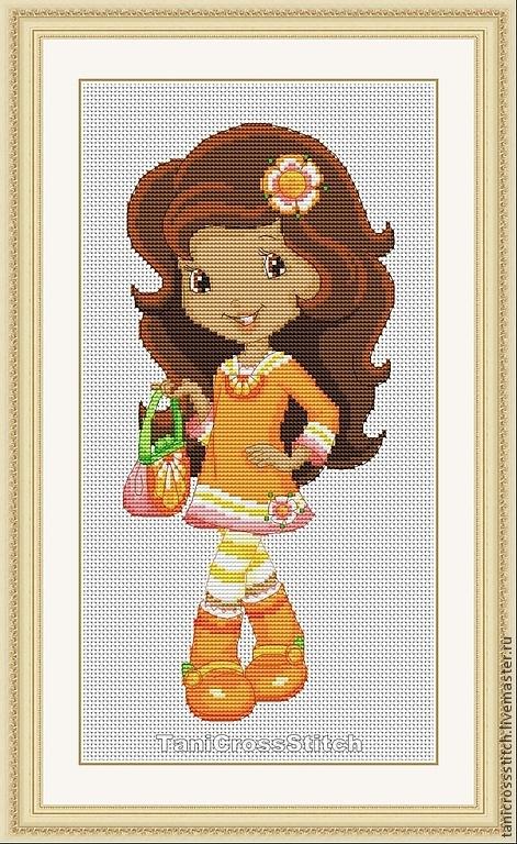 """Вышивка ручной работы. Ярмарка Мастеров - ручная работа. Купить Схема для вышивки крестиком """"Шарлотта земляничка - Апельсинка"""". Handmade."""