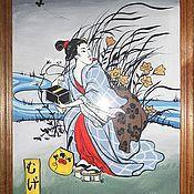 """Картины и панно ручной работы. Ярмарка Мастеров - ручная работа Картина в японском стиле """"Ловля бабочек"""". Handmade."""