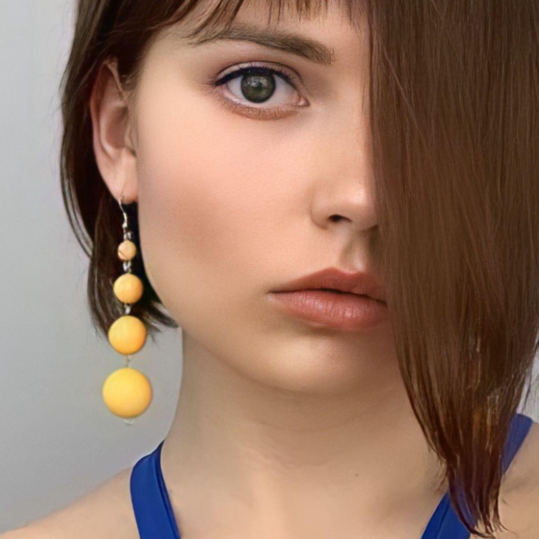 Earrings yellow long hanging different, Earrings, Kaliningrad,  Фото №1