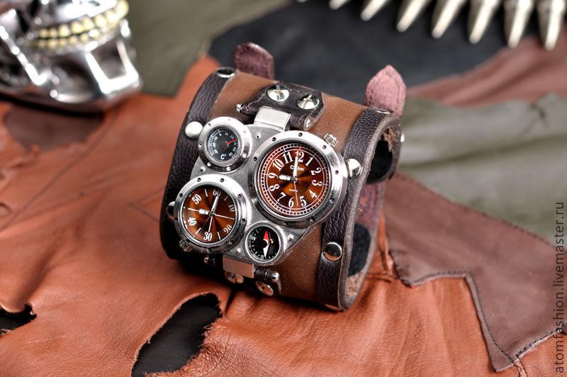 Купить широкий кожаный браслет на часы часы наручные goer