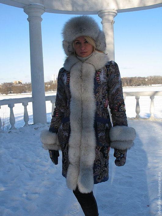 """Верхняя одежда ручной работы. Ярмарка Мастеров - ручная работа. Купить Пальто """" Русские узоры """" с песцом. Handmade."""
