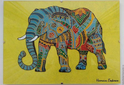 Ааа...в Африке горы вот такой вышины...Слон. Витражная картина