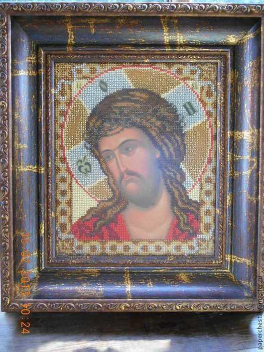 Иконы ручной работы. Ярмарка Мастеров - ручная работа. Купить икона вышитая бисером Иисус Христос в терновом венце. Handmade.