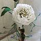 """Цветы ручной работы. Ярмарка Мастеров - ручная работа. Купить Интерьерный цветок пиона с декоративной веточкой """"Белый лебедь"""". Handmade."""