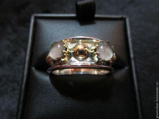 Кольца ручной работы. Ярмарка Мастеров - ручная работа. Купить Уникальное авторское кольцо с розовыми кварцами из Индии. Handmade. Розовый