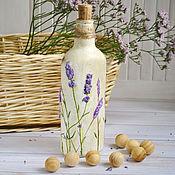 Посуда ручной работы. Ярмарка Мастеров - ручная работа Бутылка декоративная 3D декупаж лаванда. Handmade.