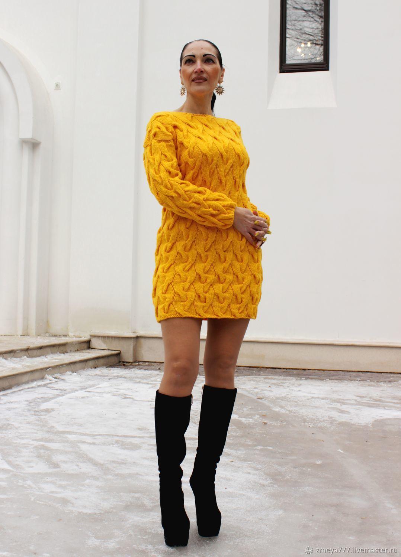 168dc11ed5e Платья ручной работы. Ярмарка Мастеров - ручная работа. Купить Вязаное  платье с косами   ...