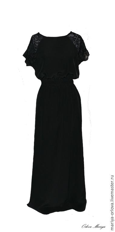 Платья ручной работы. Ярмарка Мастеров - ручная работа. Купить Платье вечернее. Handmade. Черный, платье черное в пол, платье