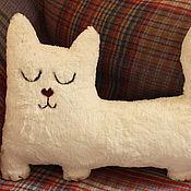 Toys handmade. Livemaster - original item Interior soft toy Sleepy cat made of artificial fur. Handmade.
