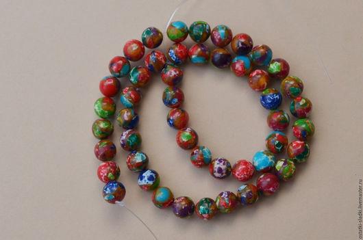 Для украшений ручной работы. Ярмарка Мастеров - ручная работа. Купить Бусины турквенит шар, 8мм, разноцветные. Handmade. Комбинированный