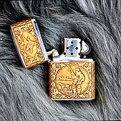 """Сувениры и подарки handmade. Livemaster - original item Зажигалка zippo обтянутая берестой """"Охота"""". Handmade."""