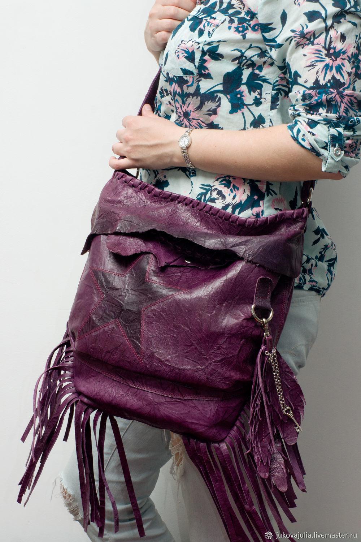 Crossbody bag made of genuine purple pressed leather. Violet star, Crossbody bag, Stavropol,  Фото №1