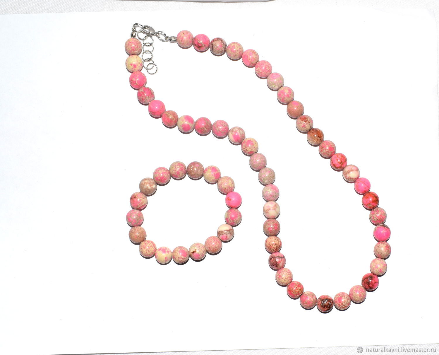 Set bracelet and beads of natural pink variscite (m), Jewelry Sets, Moscow,  Фото №1