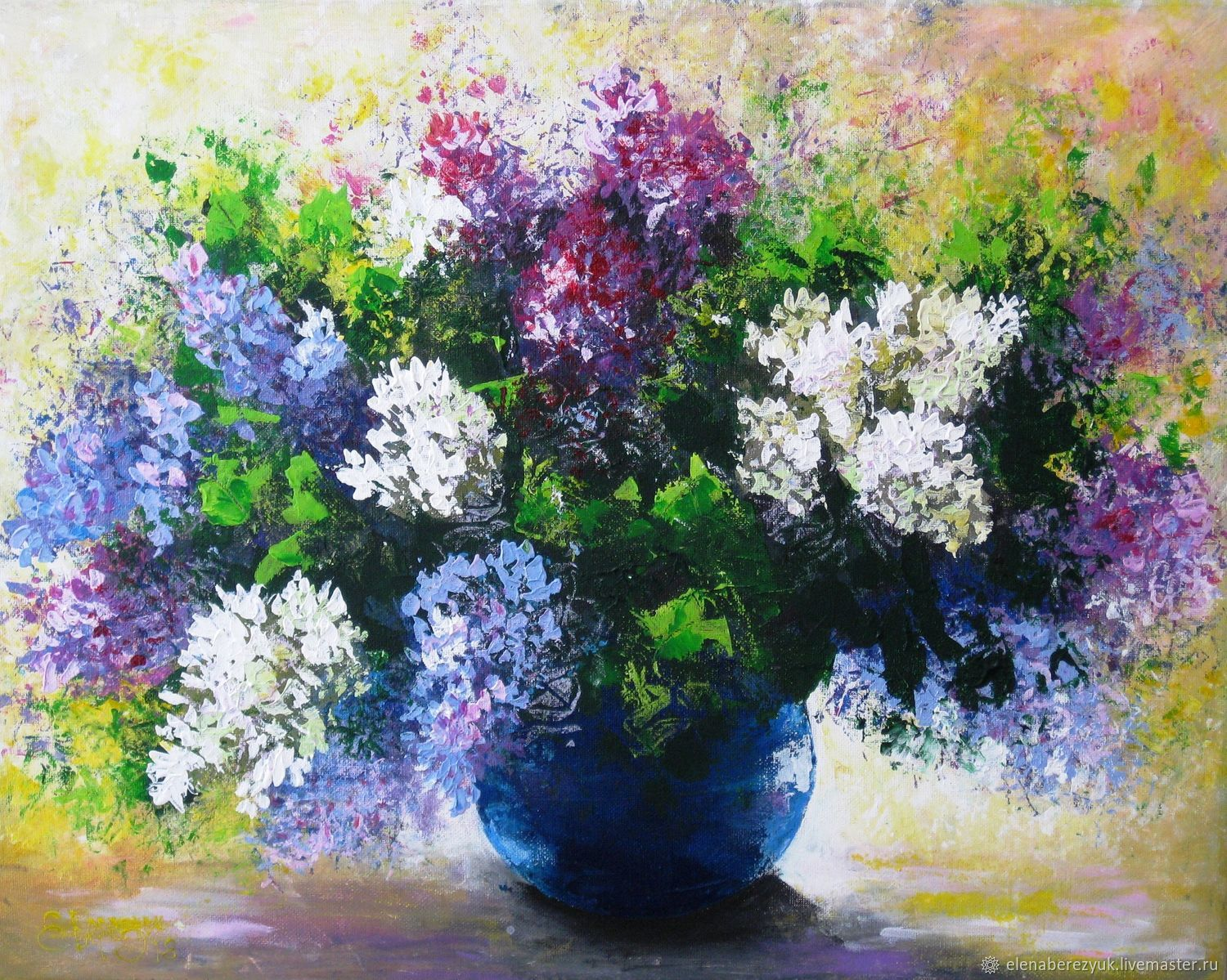 Flower Paintings handmade. Livemaster - handmade. Buy Lilac Original acrylic painting on canvas flowers ...