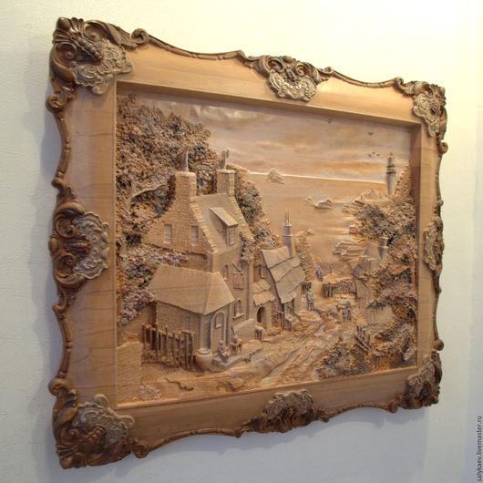 Город ручной работы. Ярмарка Мастеров - ручная работа. Купить Дом у берега. Резное дерево. Handmade. Оранжевый, дерево резное