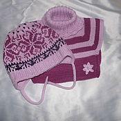 Работы для детей, ручной работы. Ярмарка Мастеров - ручная работа Комплект шапочка, манишка, носочки, варежки норвежская снежинка. Handmade.