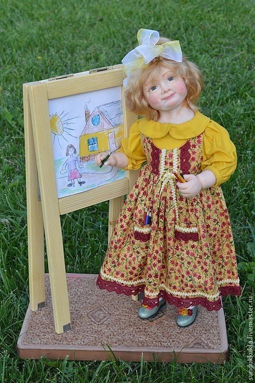 Коллекционные куклы ручной работы. Ярмарка Мастеров - ручная работа. Купить Кукла из пластика Маленькая художница.. Handmade. текстиль