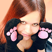 Mittens handmade. Livemaster - original item Mittens with paws women`s knit baby mittens the Cat. Handmade.