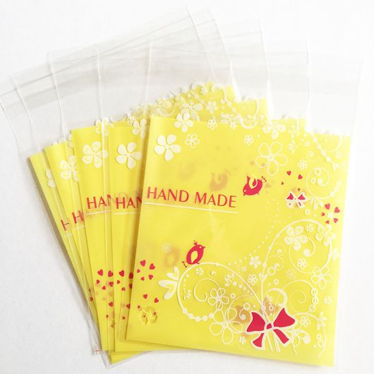 Подарочная упаковка ручной работы. Ярмарка Мастеров - ручная работа. Купить Пакет жёлтый с птичками 10x10 с клейким клапаном. Handmade.