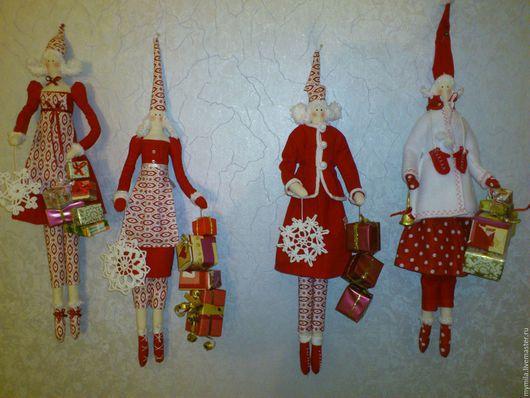 Куклы Тильды ручной работы. Ярмарка Мастеров - ручная работа. Купить Новогодние гномочки. Handmade. Ярко-красный, милый подарок