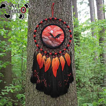 """Feng Shui handmade. Livemaster - original item Ловец снов """"Последний дракон"""" с перьями глухаря, 60 см. Handmade."""
