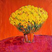 Картина маслом Желтые цветы.