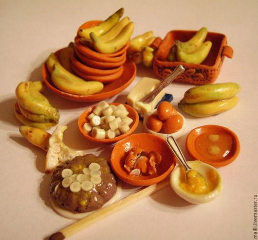 Еда ручной работы. Ярмарка Мастеров - ручная работа. Купить Бананы и банановый пирог в миниатюре. Handmade. Рыжий, миниатюра для кукол