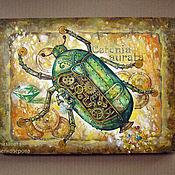 """Картины и панно ручной работы. Ярмарка Мастеров - ручная работа Картина """"Золотой жук"""" стимпанк деньги золото. Handmade."""