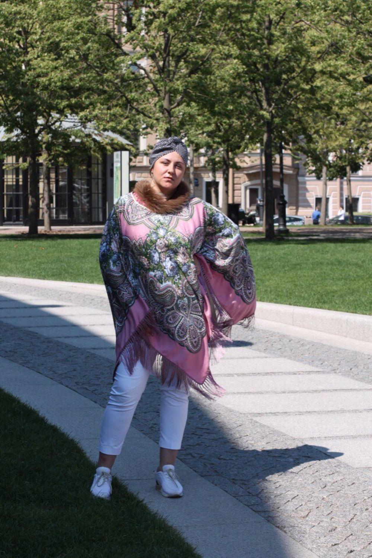 Хендмейд-накидка большая из платка в Павлопосадском стиле, Народные костюмы, Санкт-Петербург,  Фото №1