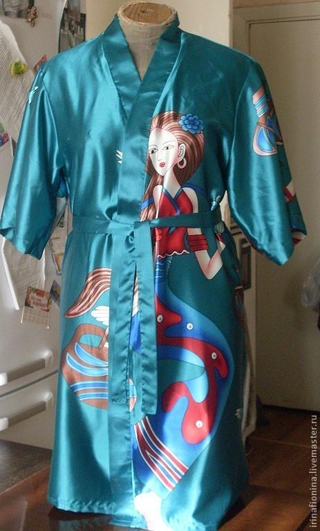Халаты ручной работы. Ярмарка Мастеров - ручная работа. Купить Халаты женские из шелка-Япония. Handmade. Рисунок, ручная работа