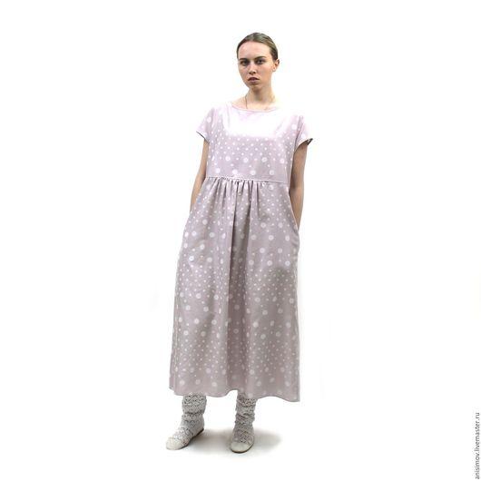 Платья ручной работы. Ярмарка Мастеров - ручная работа. Купить Легкое свободное платье из льна с вискозой и хлопком. Handmade.