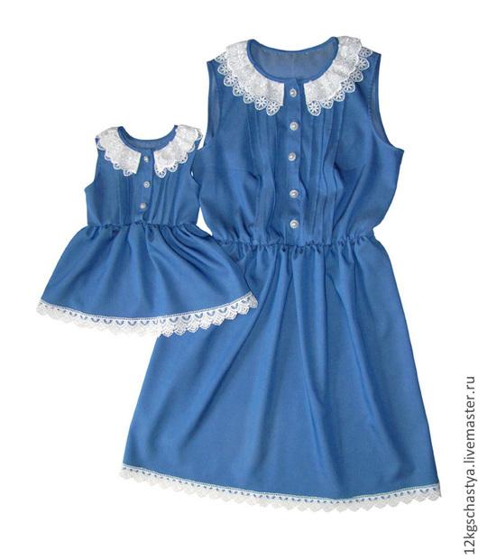 Платья ручной работы. Ярмарка Мастеров - ручная работа. Купить Одинаковые платья из джинсовой ткани с кружевом. Handmade. Голубой